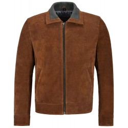 Men's Suede Leather Bomber Jacket Knit Collared Tan Modern Blouson Fashion 2959