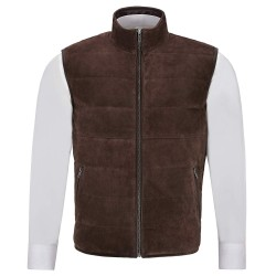 Men's Quilted Leather Waistcoat Brown Real Suede Leather Fashion Gilet Vest