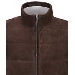 Men s Quilted Leather Waistcoat Brown Real Suede Leather Fashion Gilet Vest, Waistcoat, Suede Gilet, ,