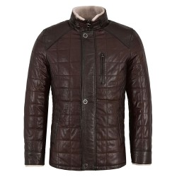 Men Real Shearling Lined Brown Leather Jacket Vegetable Tanned Lambskin Beige Fur 100% Real 421
