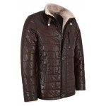 Men Real Shearling Lined Brown Leather Jacket Vegetable Tanned Lambskin Beige Fur 100 Real 421, Sheepskin, 421 Brown, ,