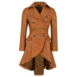 Edwardian Ladies Real Leather Jacket Tan Napa Back Buckle Coat Gothic Style 3491