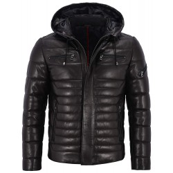 Men's Real Leather Jacket Puffer Hooded 100% Lambskin Fully Quilted Design 2006