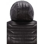 Men s Real Leather Jacket Puffer Hooded 100 Lambskin Fully Quilted Design 2006, Short Jackets, 2006 Black, ,