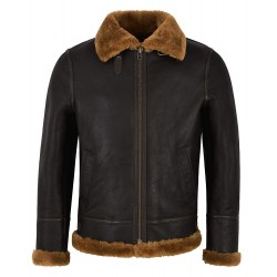 Grand Men's B3 Ginger Brown Shearling Sheepskin Leather Jacket Bomber Flying RAF NV-65