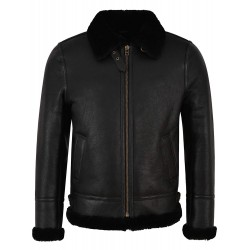 Grand Men's B3 Black Fur Shearling Sheepskin Leather Jacket Bomber Flying RAF NV-65