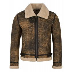 Men's B3 Fur Shearling Sheepskin Leather Jacket Vintage Rust Wood Jungle Effect 100% Genuine