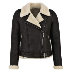 Grand Ladies-B3-Shearling-Sheepskin-Jacket-100-Genuine-Brown-Beige-Fur-Biker-Style