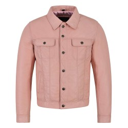 Men's Real Leather Jacket Baby Pink Napa Classic Western Trucker Style 1280