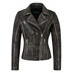 Ladies Fashion Leather Jacket Special Design Black Vintage Soft Biker Style 9334