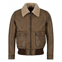 Men's Real Leather Jacket Dirty Brown Napa Shearling Collar Bomber Style 3070