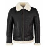 Men's B3 Shearling Sheepskin Jacket Black with Ivory Fur Bomber Pilot RAF NV-65i, Sheepskin, Black NV65i, ,
