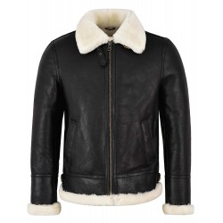 Men's B3 Shearling Sheepskin Jacket Black with Ivory Fur Bomber Pilot RAF NV-65i