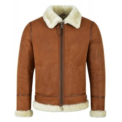 Men's B3 Shearling Sheepskin Jacket Tan Whisky Beige Fur Bomber Pilot RAF NV-65