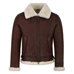 Mens B3 Shearling Sheepskin Jacket Chestnut with Ivory Fur Bomber Pilot RAF Reagan