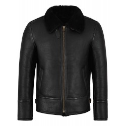 Men's B3 Black Fur Shearling Sheepskin Leather Jacket Bomber Pilot RAF Harbin