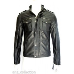 Glenn Men's Gents Black Designer Real Sheep Napa Soft Lambskin Leather Jacket