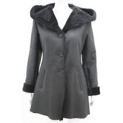 Ladies Black Sheepskin Shearling Aviator Flying Hood Belted Leather Coat Jacket
