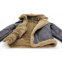 Aviator Flying Ladies Brown Ginger Fur Shearling Hooded Sheepskin Leather Jacket
