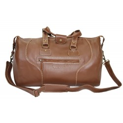 HOLDALL BURNISH BROWN Large Weekend Duffle Travel Gym Real Genuine Leather Bag (Burnish Brown)