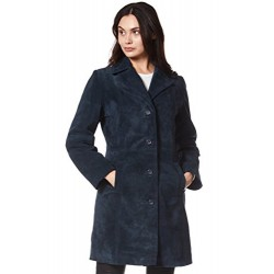 Trench Ladies Classic Knee-Length Designer Real Suede Leather Jacket Coat 3457