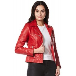 Rider Ladies Real Leather Jacket Red Soft Napa Biker Motorcycle Style 9823