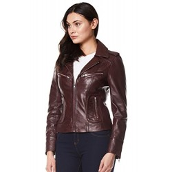 Rider Ladies Real Leather Jacket Red Soft Napa Biker Motorcycle Style 9823 Brown