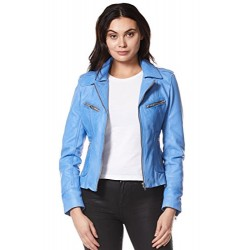 Rider Ladies Real Leather Jacket Red Soft Napa Biker Motorcycle Style 9823 Light Blue