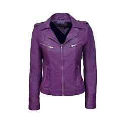 Rider Ladies Real Leather Jacket Red Soft Napa Biker Motorcycle Style 9823 Purple