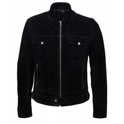 1345 New Men's SUEDE Black 1960's Classic TRUCKER Denim Style Real Western Leather Jacket