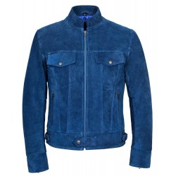 1345 New Men's SUEDE Electric Blue 1960's Classic TRUCKER Denim Style Real Western Leather Jacket