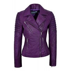 Ladies Real Leather Jacket Stylish Fashion Designer Purple Soft Biker Motorcycle Style 9334