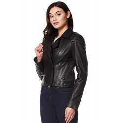 Selena Gomez Ladies Real Leather Jacket New Fashion Arrival Short Slim Fit Style Black NV-81