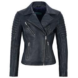 Jessica ALBA Fashion Designer Ladies Leather Jacket Soft Biker Style Navy 9334