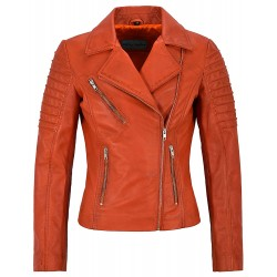 Jessica ALBA Fashion Designer Ladies Orange Leather Jacket Soft Biker Style 9334