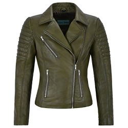 Jessica ALBA Fashion Designer Ladies Leather Jacket Soft Biker Style Olive 9334