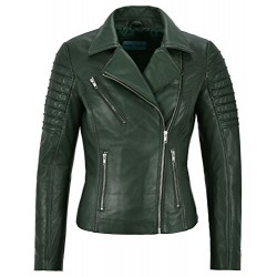 Jessica ALBA Fashion Designer Ladies Leather Jacket Soft Biker Style Green 9334