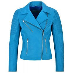 Jessica ALBA Fashion Designer Ladies Leather Jacket Soft Biker Style Electric Blue 9334