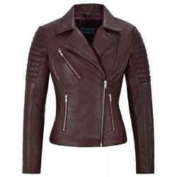 Jessica ALBA Fashion Designer Ladies Leather Jacket Soft Biker Style Cherry 9334