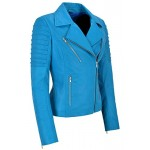 Jessica ALBA Fashion Designer Ladies Leather Jacket Soft Biker Style Electric Blue 9334, Short Jackets, 9334 Electric Blue, ,