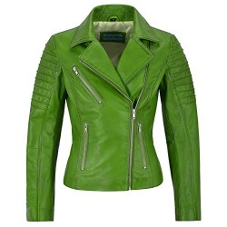 Jessica ALBA Fashion Designer Ladies Leather Jacket Soft Biker Style Lime 9334