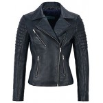 Jessica ALBA Fashion Designer Ladies Leather Jacket Soft Biker Style Navy 9334, Short Jackets, 9334 Navy, ,