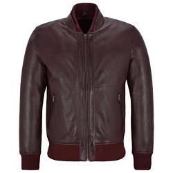 Cherry Smith Ultra Handsome Men Perforated Real Leather Bomber Retro Style Jacket 4348