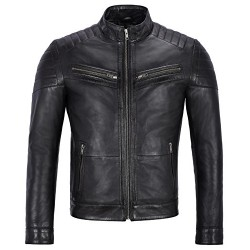 Men's Real Leather Jacket New Designer Biker Motorcycle Quilted Shoulder Ban Collar Style 8334