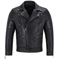 Men's Real Leather Jacket Lambskin Napa New Fashion Biker Motorcycle Style 3205 Black