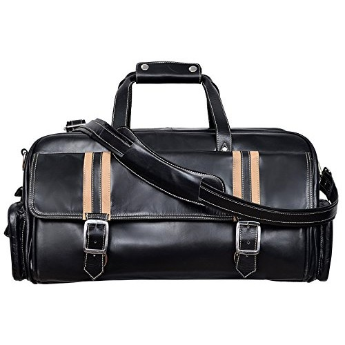Leather Weekend Bag Brown Travelling Luggage Holdall Sports Classic Bag 9225 Black, Leather Holdalls, AZUK Weekend Bag 9225 Tan, ,