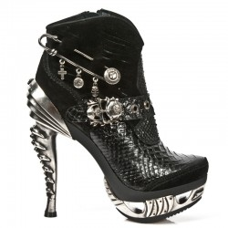 NEW ROCK PUNK SANDALS M.MAG032-C2 BLACK PYTHON MAGNETO