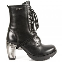 NEW ROCK TRAIL M.TR001-S1 BLACK HEEL TRAIL STEEL LEATHER BOOTS