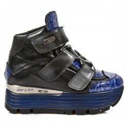 NEW ROCK URBAN M.URBAN003-C1 NOMAD VINTAGE BLACK PATENT BLUE STEEL PULIK