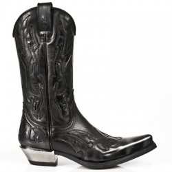 NEW ROCK WEST M.7921-S3 BLACK FLAME LEATHER STEEL HEEL COWBOYS BOOTS